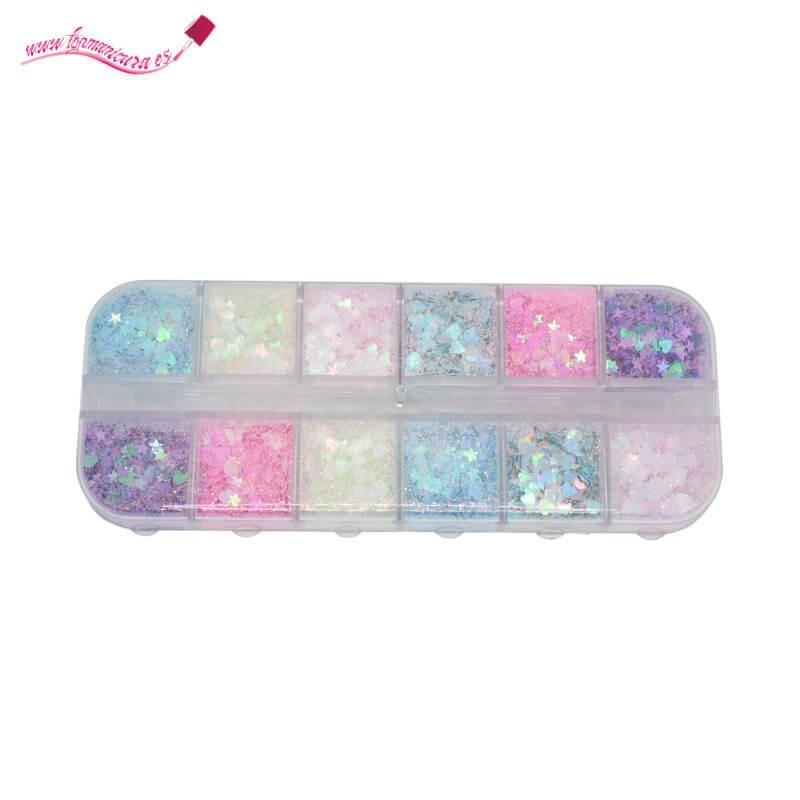 Pack mezcla purpurina y azúcar uñas