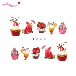 Pegatinas de agua para uñas dulces STZ 474