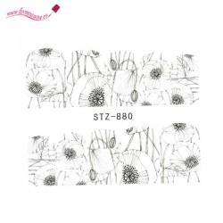 Pegatinas de agua uñas flores negras STZ 880